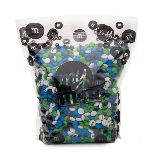 Seattle Seahawks NFL M&M'S Bulk Candy, Front View of 5lb Bulk Bag of Seahawks-themed M&M'S