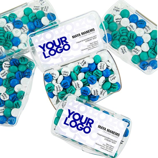 Personalizable M&M'S Business Card Kit 24 Count, Alt View of Inside and Outside Business Card Acrylics filled with M&M'S