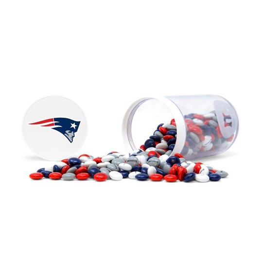 New England Patriots NFL M&M'S Candy Gift Jar - Patriots-themed M&M'S inside jar. Showing candy spilled from jar.