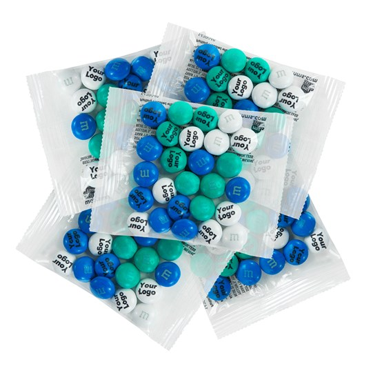 Personalizable M&M'S Business Favor Packs, Front View of Stack of Clear Party Favor Packs Filled with Personalized M&M'S