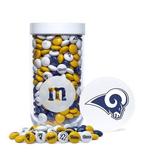 Los Angeles Rams NFL M&M'S Candy Gift Jar - Rams-themed M&M'S inside gift jar. Jar includes logo/emblem printed on lid.