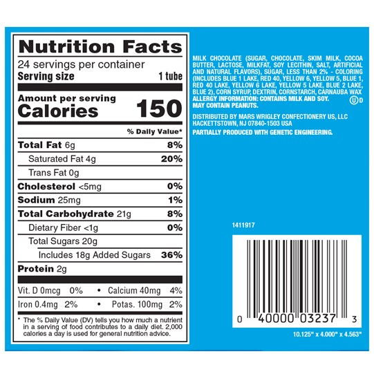 M&M'S MINIS Milk Chocolate Candy, 1.08 Oz Tubes (Pack of 24) Nutrition Information