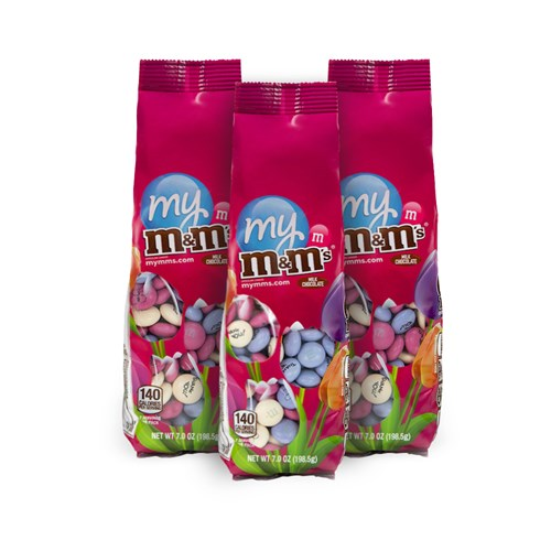 M&M'S Flower Candy Bags, 3 pack - pink bags with clear windows in flower design to see M&M'S