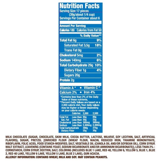 M&M'S Pretzel Chocolate Nutrition Facts Label