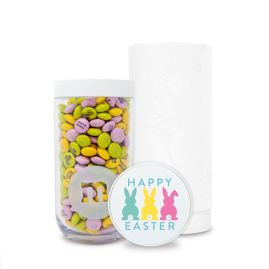Personalizable M&M'S Happy Easter Gift Jar in White Gift Tube; Basic View