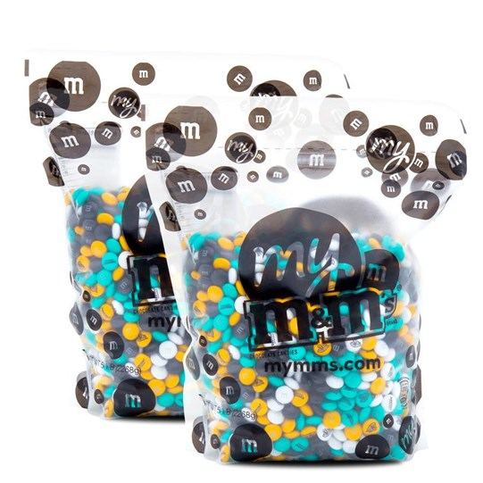 Jacksonville Jaguars NFL M&M'S Bulk Candy, Front View of Two 5lb Bulk Bags of Jaguars-themed M&M'S