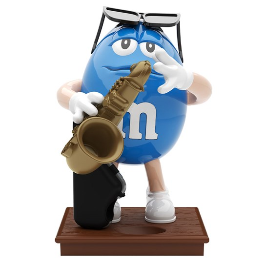 M&M'S Saxophone Dispenser, Front View of Blue M&M'S Character Playing the Saxophone.