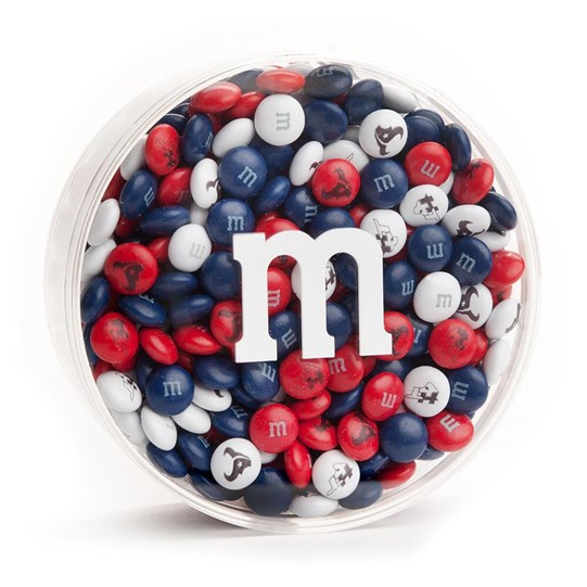 Houston Texans NFL Round Gift Box - Texans-themed M&M'S inside clear gift box with 'm logo.