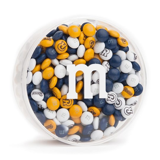 Los Angeles Rams NFL Round Gift Box - Rams-themed M&M'S inside clear gift box.