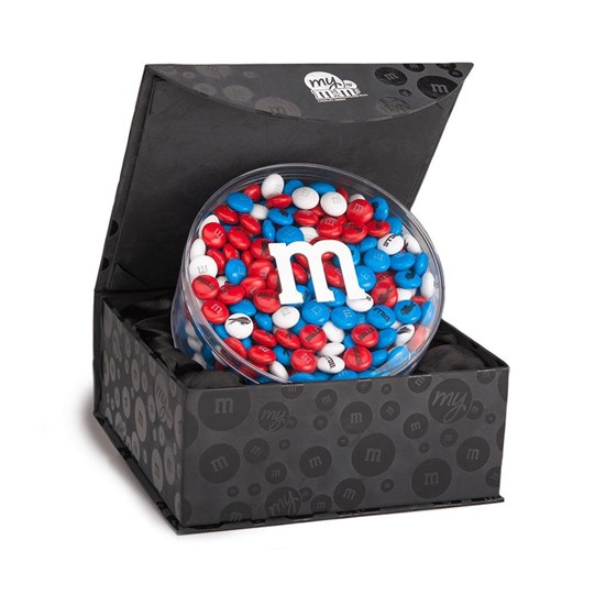 Buffalo Bills NFL M&M'S Round Gift Box, Front View of Round Acrylic filled with Bills M&M'S, inside Black Gift Box