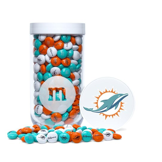 Miami Dolphins NFL M&M'S Candy Gift Jar - Dolphins-themed M&M'S inside clear gift jar. Dolphins logo/emblem printed on lid.