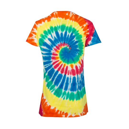 Ladies M&M'S Tie Dye Tee, Back View of T-Shirt Showing Colorful Tie Dye Pattern