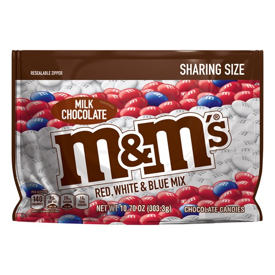 M&M'S Red, White & Blue Patriotic Milk Chocolate Candy 10.7 oz Bag, Sharing Size, Front of Package