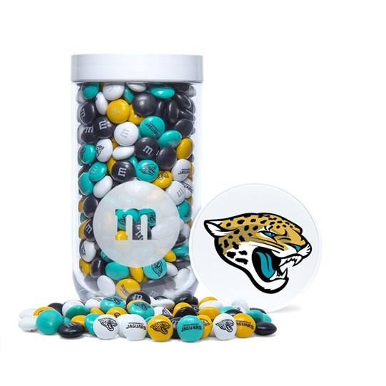 Jacksonville Jaguars NFL M&M'S Candy Gift Jar - Jaguars-themed M&M'S inside jar. Jar includes logo/emblem printed on lid.