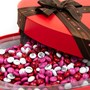 Close up of M&M'S 16 oz Heart Shaped Candy Gift Box