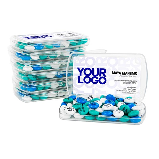 Personalizable M&M'S Business Card Kit 24 Count, View of Inside Business Card Acrylic filled with M&M'S with Sample Business Card