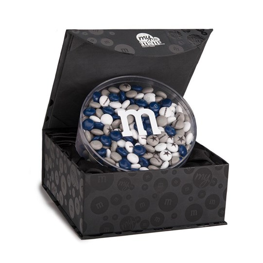 Dallas Cowboys NFL M&M'S Round Gift Box, Front View of Acrylic filled with Cowboys M&M'S inside Black Gift Box