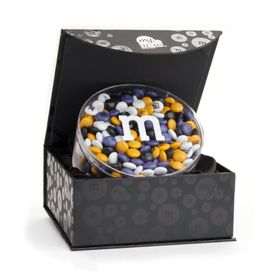 Baltimore Ravens NFL M&M'S Round Gift Box, Front View of Round Acrylic filled with Ravens M&M'S, inside Black Gift Box