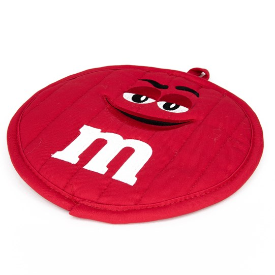"M&M'S Character Big Face Round Pot Holder, Alt View of Pot Holder Showing Character Face and White ""m"" Logo Detail"