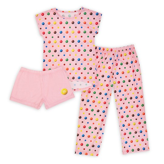 Youth Girl's M&M'S Pink Lounge Set. Front View.