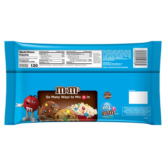 M&M'S Milk Chocolate MINIS, 3 lb Bulk Candy Bag - Back of back and nutrition label