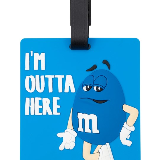 M&M'S Character Luggage Tag, Up Close View of Luggage Tag Showing M&M'S Character & Verbiage with Black Hook on Top