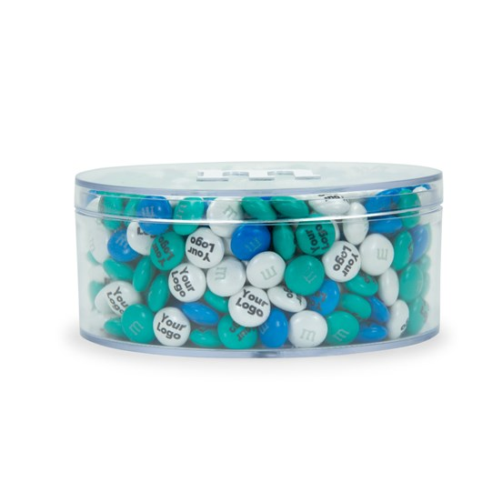 Personalizable M&M'S Black Business Gift Box, Side View of Round Acrylic Gift Box with M&M'S for Width/Depth