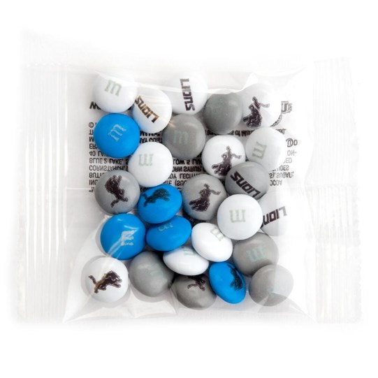 Detroit Lions NFL Party Favor Packs, Front View of 1 Party Favor Pack Filled with Lions-themed M&M'S