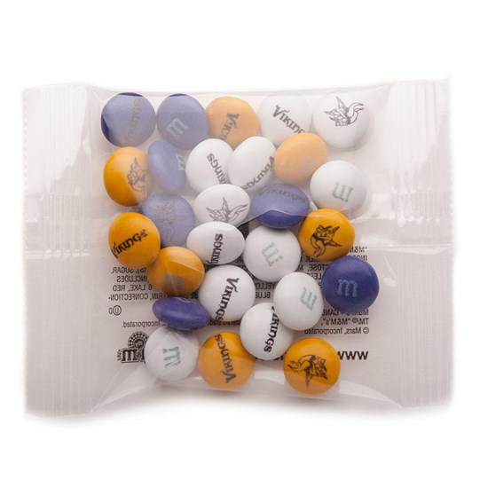 Minnesota Vikings NFL Party Favor Packs, Front View of 1 Party Favor Pack Filled with Vikings-themed M&M'S