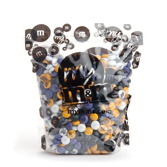 Baltimore Ravens NFL M&M'S Bulk Candy, Front View of 2lb Bulk Bag of Ravens-themed M&M'S