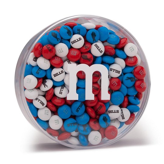 "Buffalo Bills NFL M&M'S Round Gift Box, Front View of Round Acrylic with ""m"" Logo, filled with Bills M&M'S"