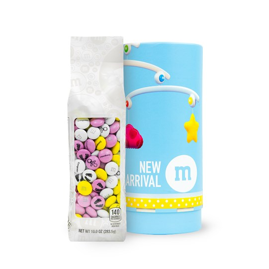 M&M'S 10 oz Bag in Baby Gift Tube - Bag outside of tube