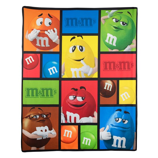 M&M'S Character Blanket, Front View of Blanket Showing Orange, Green, Yellow, Red, Brown & Blue M&M'S Characters Throughout