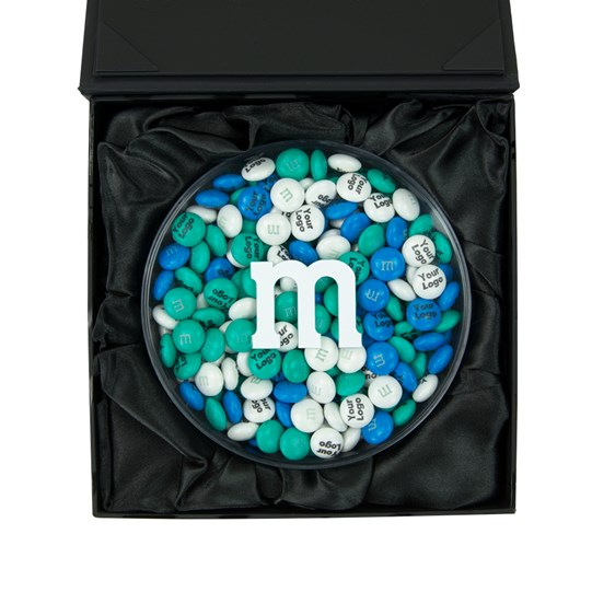 Personalizable M&M'S Black Business Gift Box, Inside View of Round Acrylic Filled with Personalized M&M'S, Inside Black Gift Box