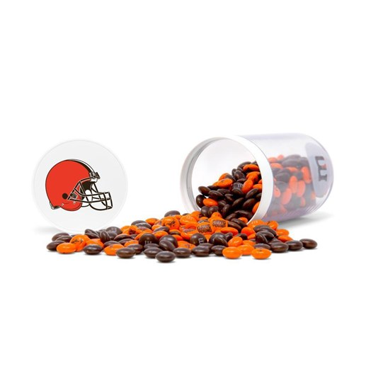 Cleveland Browns NFL M&M'S Candy Gift Jar, Alt View Gift Jar on Side & Lid wth the Browns Logo, spill of Browns M&M'S