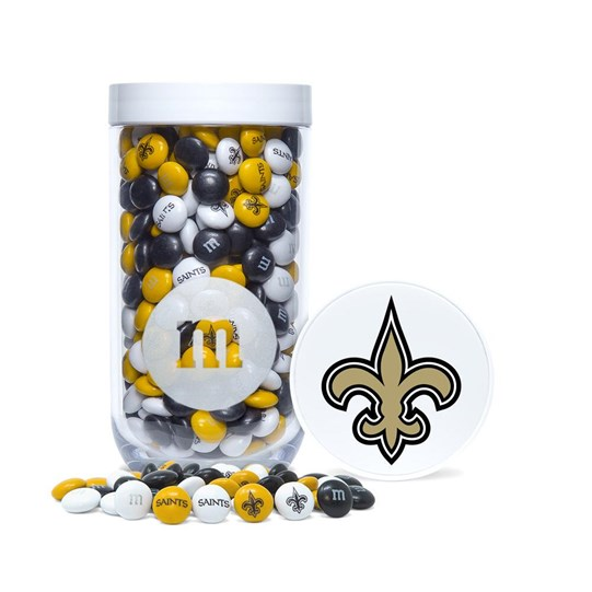 New Orleans Saints NFL M&M'S Candy Gift Jar with Saints logo printed on lid and M&M'S candies