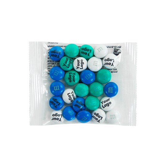Personalizable M&M'S Business Favor Packs, Front View of 1 Clear Party Favor Pack Filled with Personalized M&M'S