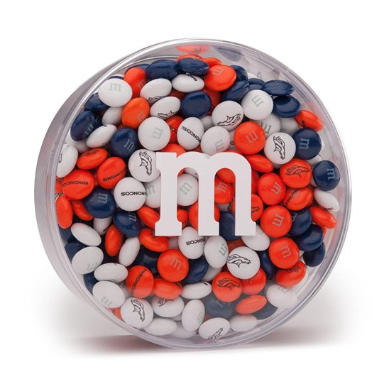 "Denver Broncos NFL M&M'S Round Gift Box, Front View of Acrylic with White ""m"" logo and Broncos Candy inside"