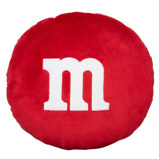 "M&M'S Plush Pillow, Front View of Solid Color Plush Pillow with Large White ""m"" Logo in Center"