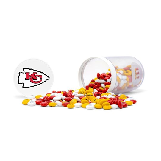 Kansas City Chiefs NFL M&M'S Candy Gift Jar - Candy spilled.