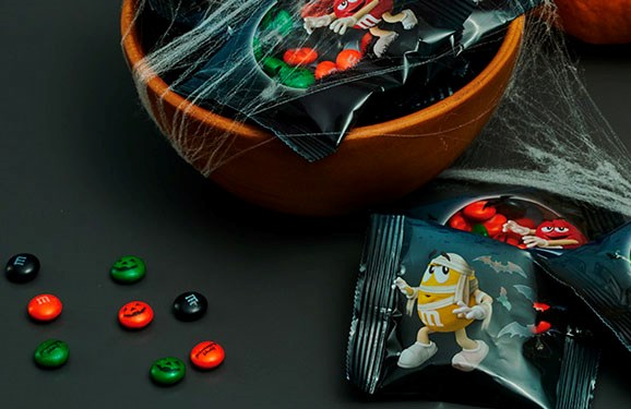 Personalized Halloween candy M&M'S on a black background