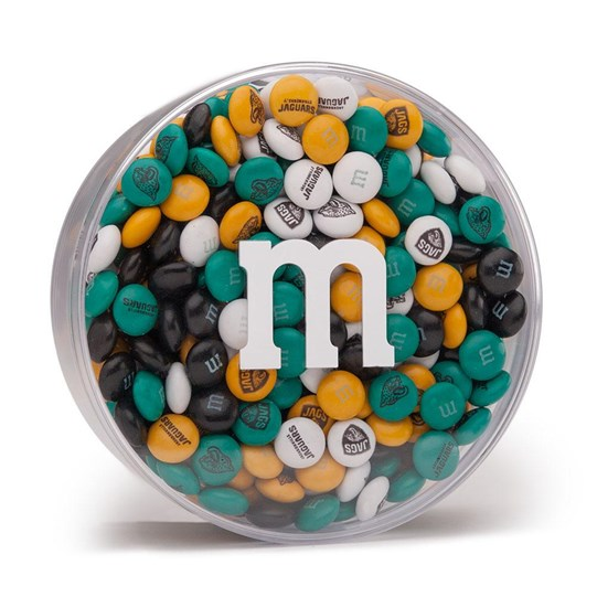 Jacksonville Jaguars NFL M&M'S Round Gift Box - Jaguars-themed M&M'S inside clear gift box with 'm logo.