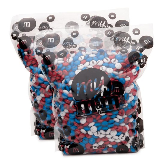 Buffalo Bills NFL M&M'S Bulk Candy, Front View of Two 5lb Bulk Bags of Bills-themed M&M'S