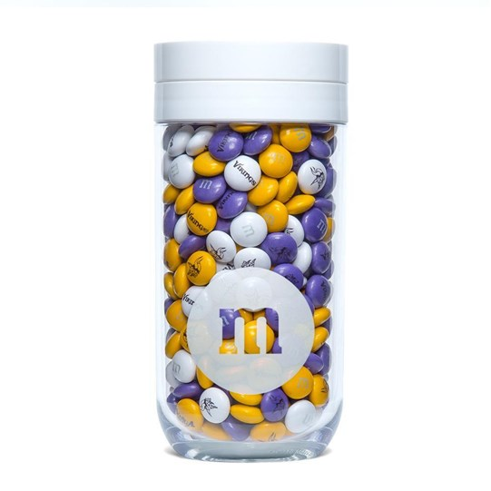 Minnesota Vikings NFL M&M'S Candy Gift Jar - Purple, yellow and white Vikings-themed M&M'S fill gift jar.