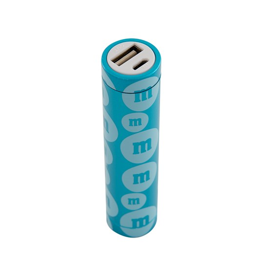 "M&M'S Tube Power Bank, Alt View of M&M'S Power Bank with ""m"" Logo Design Showing USB Outlet"