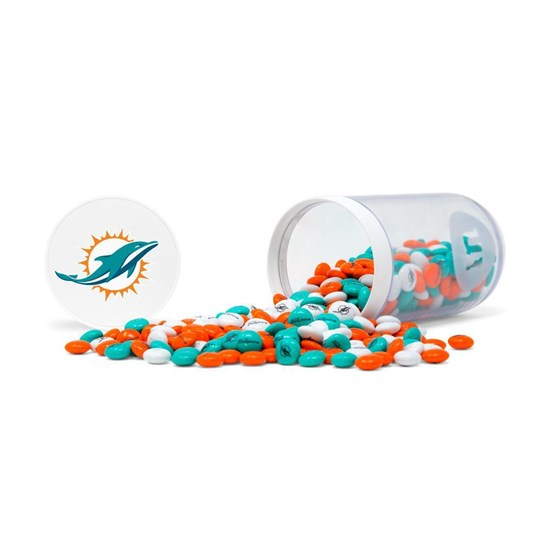 Miami Dolphins NFL M&M'S Candy Gift Jar - Dolphins-themed M&M'S inside clear gift jar. Candy spilled.