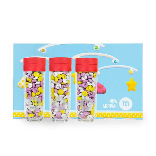 Personalizable M&M'S Three Small Gift Jars in Baby Gift Box