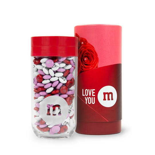 Personalizable M&M'S Gift Jar next to Romance Gift Tube
