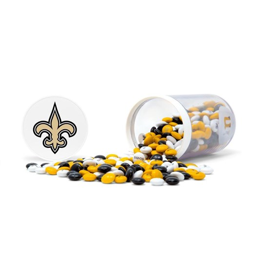 Spilled on the side -- New Orleans Saints NFL M&M'S Candy Gift Jar with Saints logo printed on lid and M&M'S candies