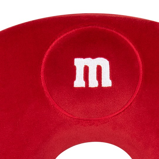 "M&M'S Memory Foam Travel Neck Pillow, Up Close View of Memory Phone Travel Neck Pillow Showing White ""m"" Logo"
